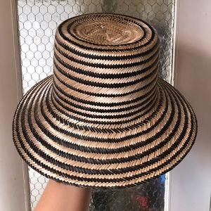 Janessa Leoné striped Colombian straw bucket hat